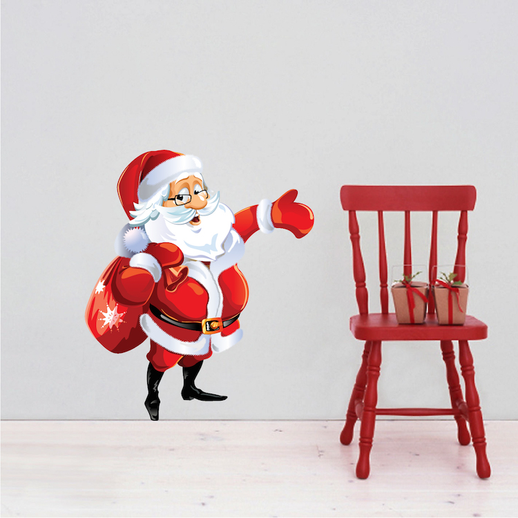 Christmas Wall Decals Removable.Santa Claus Removable Christmas Wall Decal Mural