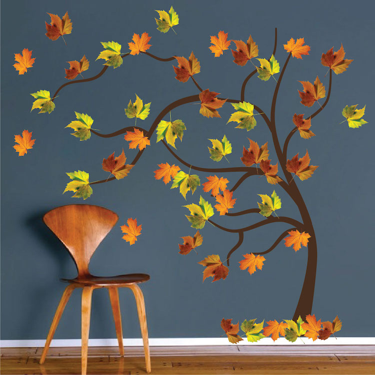 autumn tree wall decal mural - fall tree decals