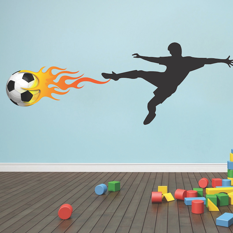 Soccer Player Flames Wall Decal Mural Sports Stickers