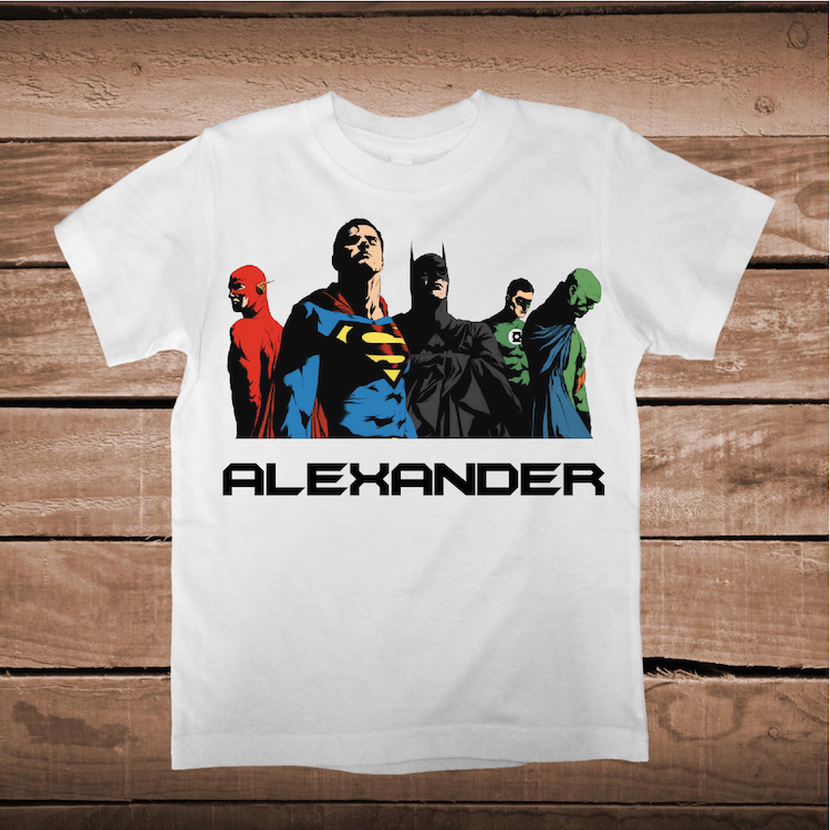 Justice League Superhero T Shirt With Name Personalized Boys