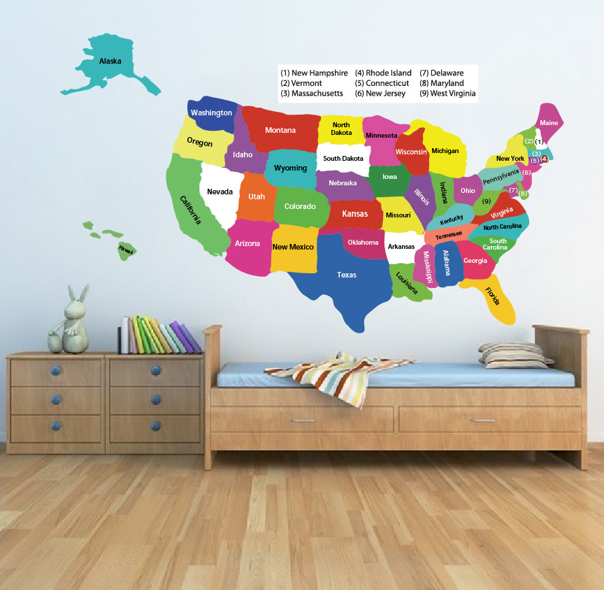 Us Map Mural.United States Map Wall Decal Educational Wall Decal Murals