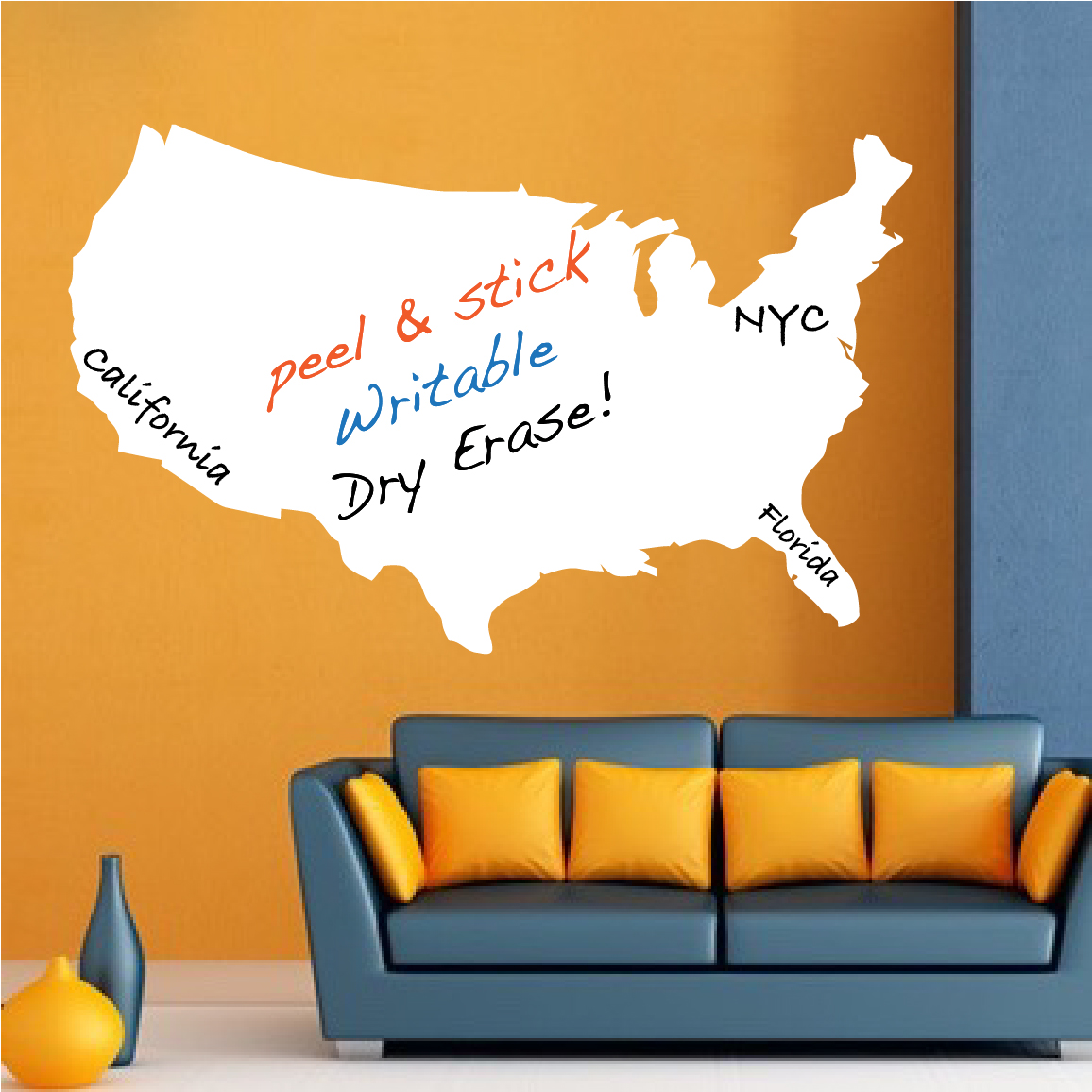 US Map Dry Erase Wall Decal - Modern Wall Decal Murals - Primedecals