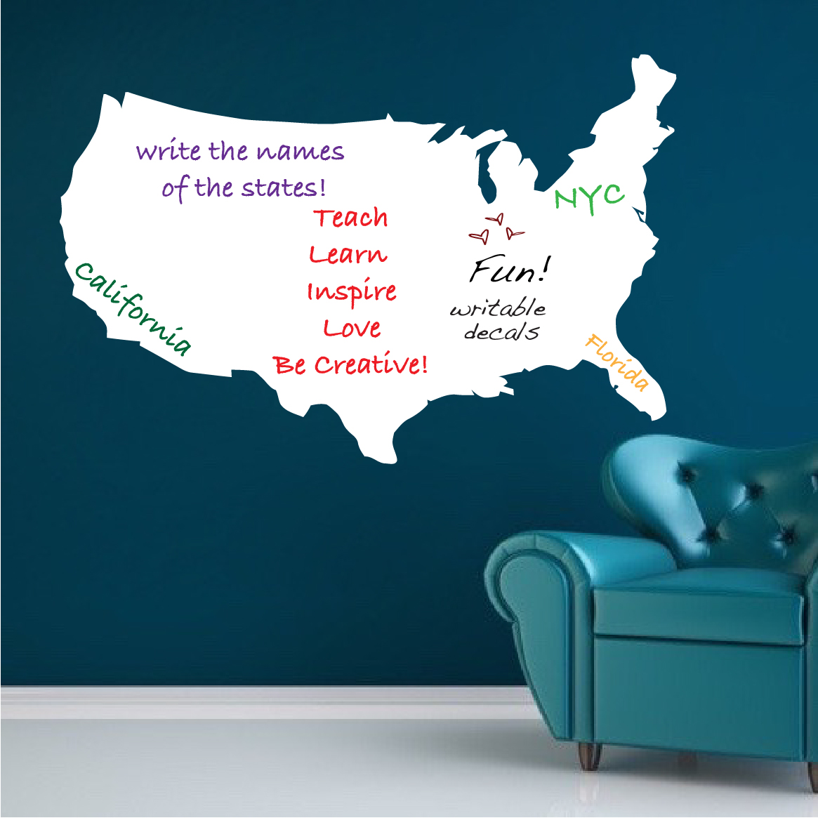 United States Map Wall Mural.Us Map Dry Erase Wall Decal Modern Wall Decal Murals Primedecals