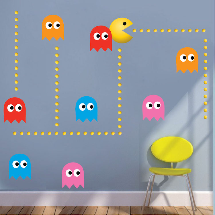 Modern Pac Man Wall Decal Video Game Wall Decal Murals