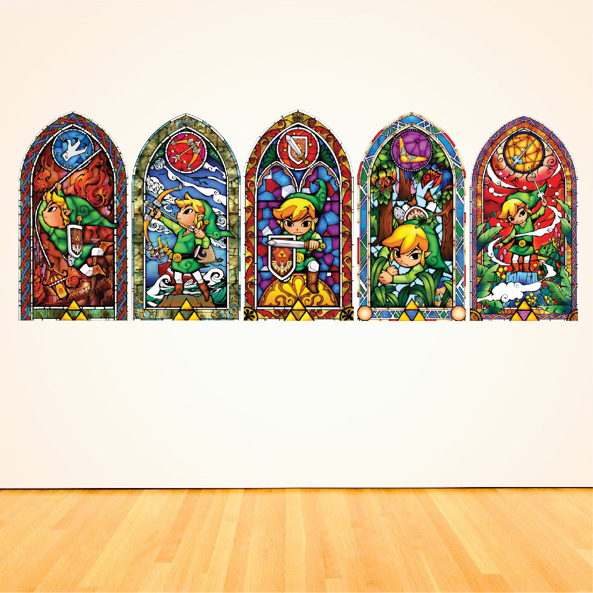 Zelda Wind Maker Stained Glass Wall Mural Decals Video Game Murals