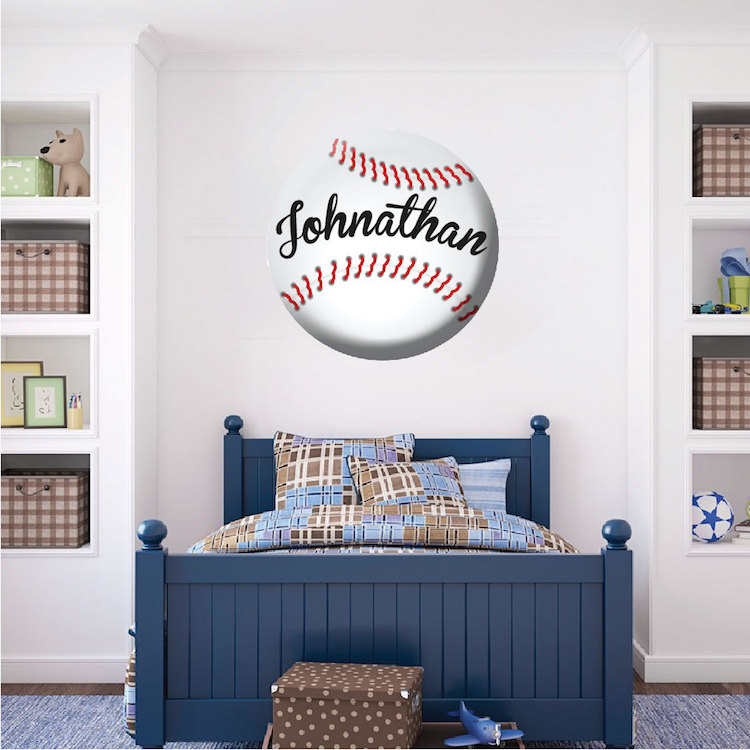 Baseball Bucket Wall Mural | Baseball wall, Kids wall ...