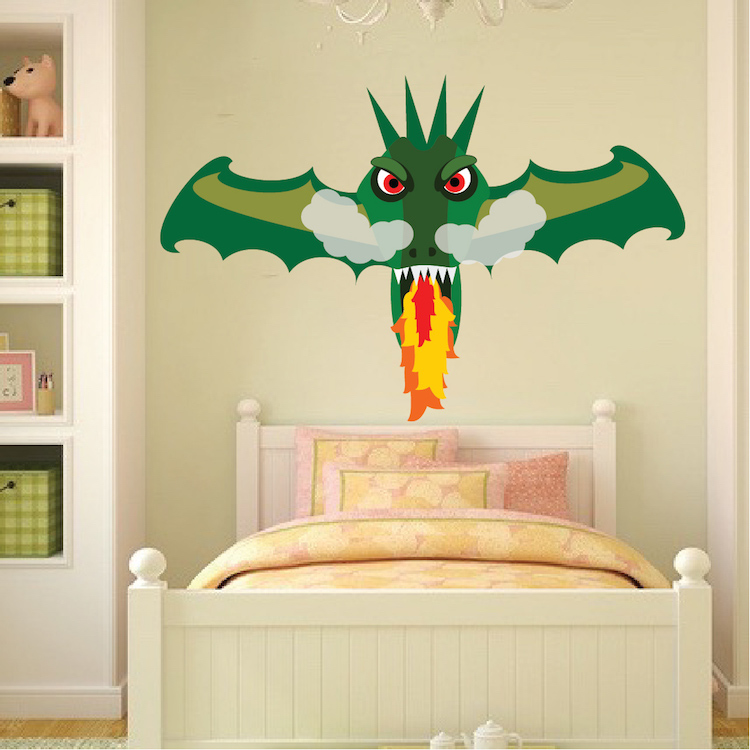 Fire Breathing Dragon Wall Decal Boys Wall Decal Murals Primedecals