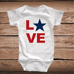 Love 4th of July Custom Onesies and Tees