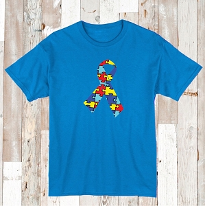 Autism Awareness T-Shirt Tee Ribbon Puzzle Shirt