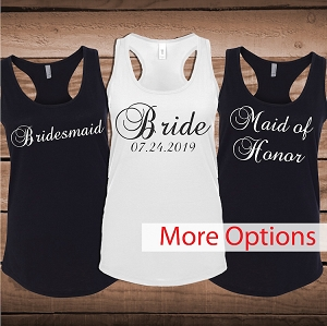 Custom Wedding Party Tees Tanks on Onesies