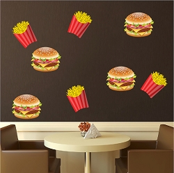 Burger and Fries Wall Mural Decal