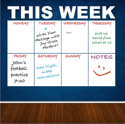Writable Weekly Calendar Decal
