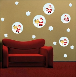 Santa Snow Globe Wall Decals