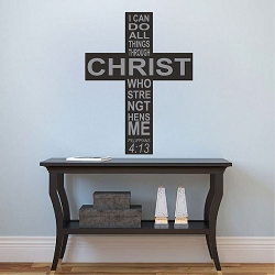 Philippians 4:13 Wall Quote Cross Decal