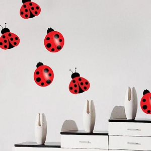 Nursery Ladybug Wall Mural Decal