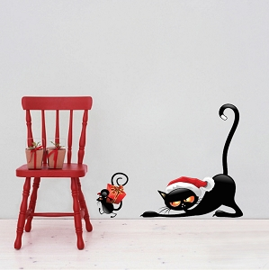 Christmas Cat and Mouse Wall Decals Decor