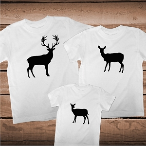 Family Matching Deer Buck Fawn T-Shirt Tee Family Shirt