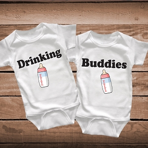 Twins Drinking Buddies Onesies, Bibs or Tees