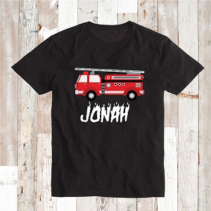 Fire Truck T-Shirt Kids Custom Name Tee Shirt