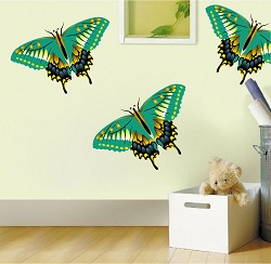 Green Butterfly Wall Mural Decal