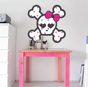 Polka Dot Skull Wall Mural Decal