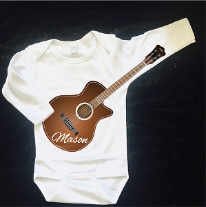 Guitar Sleeve Onesie and Tees Custom Clever Baby Shirt