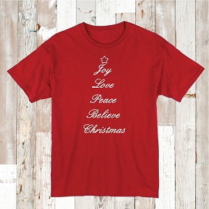 Joy Love Peace Believe Christmas Tee Shirt