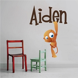 Kids Monkey Name Wall Mural Decal