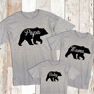 Papa Mama and Baby Bear Custom Tees