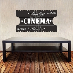 Cinema Ticket Wall Mural Decal