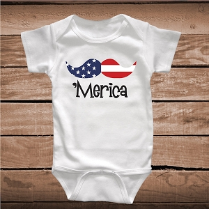 Merica Mustache Funny Onesies and Tees
