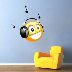 Music Smiley Wall Mural Decal