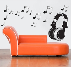 Headphone Music Wall Mural Decal