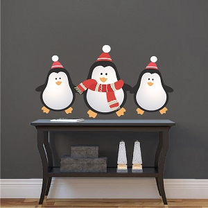 Christmas Penguin Wall Decals Decor