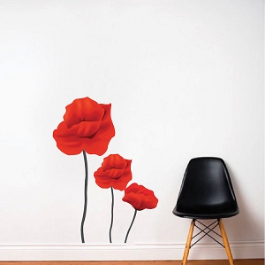 Red Flower Wall Mural Decal