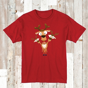 Reindeer Shirt Holiday Tees Cute Christmas T-Shirt In Many Sizes and Colors