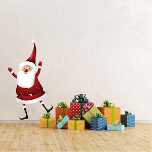 Santa Claus Dancing Removable Christmas Wall Decal Mural