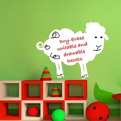 Dry Erase Sheep Wall Decal