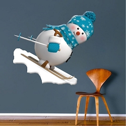 Skiing Snowman Wall Decal