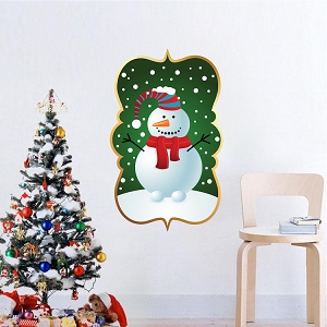 Christmas Snowman Plaque Wall Decal