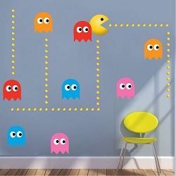 Modern Pac Man Wall Mural Decal