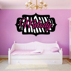 Zebra Name Wall Mural Decal