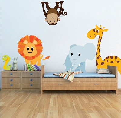 nursery zoo wall decal - animal wall decal murals - primedecals