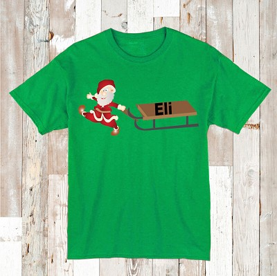 Santa Shirt Tees Kids T-Shirt With Personalized Name
