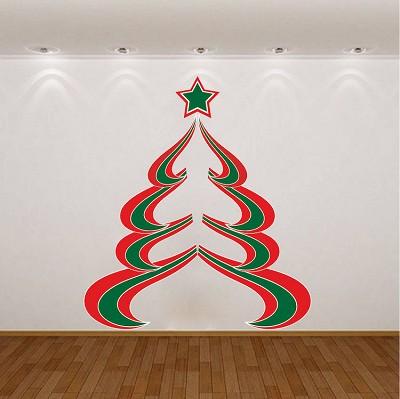 abstract christmas tree wall decal