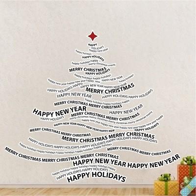 christmas tree text wall decal