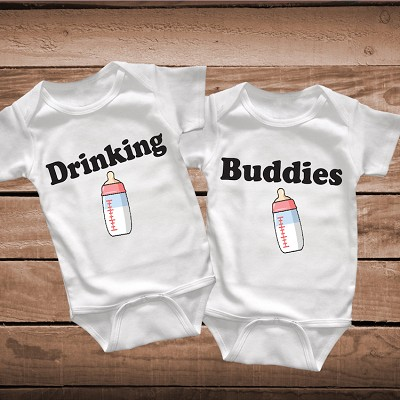 be7a9a3cf Twins Drinking Buddies Onesies, Bibs or Tees _ Twins Onesies _ Clever Twins  Tees _ Funny Drinking Milk Onesies for Twins _ Prime Decals