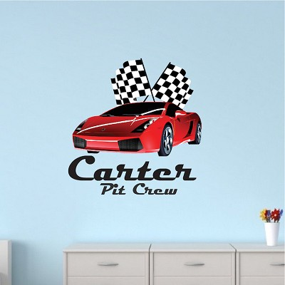 Red Ferrari Race Car For Boys Room - Checkered Racecar Wall Decal ...