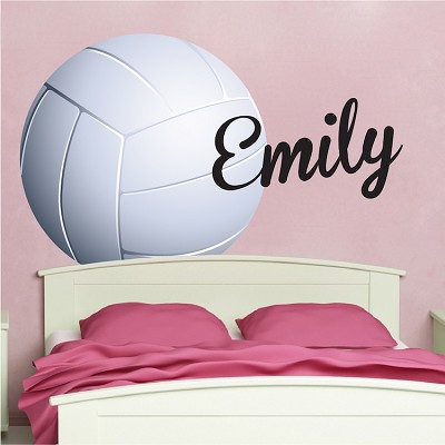 Volleyball Wallpaper Decal - Girls Volleyball Wall Decor Murals - Vollyeball Room Sticker - Personalized Volleyball Monogram - Primedecals
