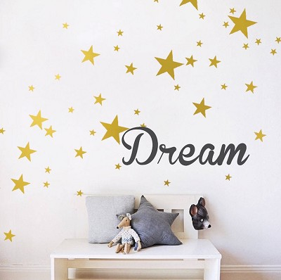 Custom Text or Name With Bedroom Stars Wall Decals